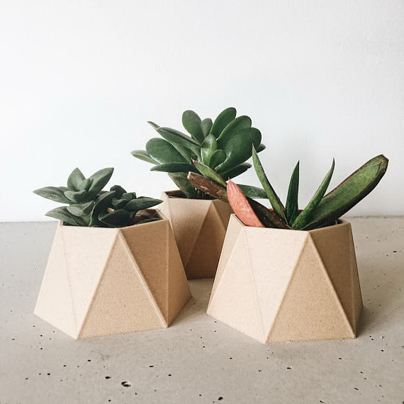 design virágcserép 3d nyomtatás - geometrikus háromszög
