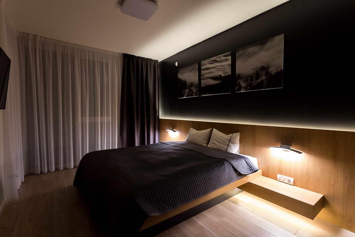 egyszerű színek letisztult design - hálószoba rejtett világítás