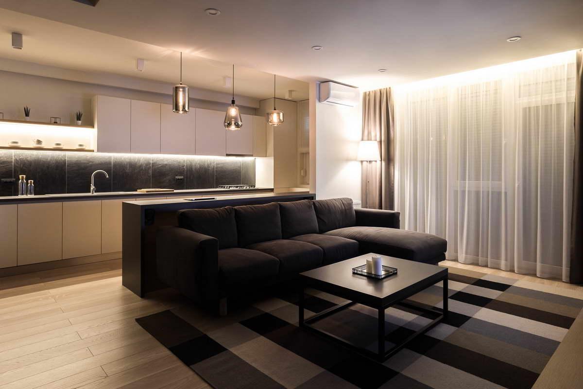 egyszerű színek letisztult design - nappali - fekete fehér szürke és barna