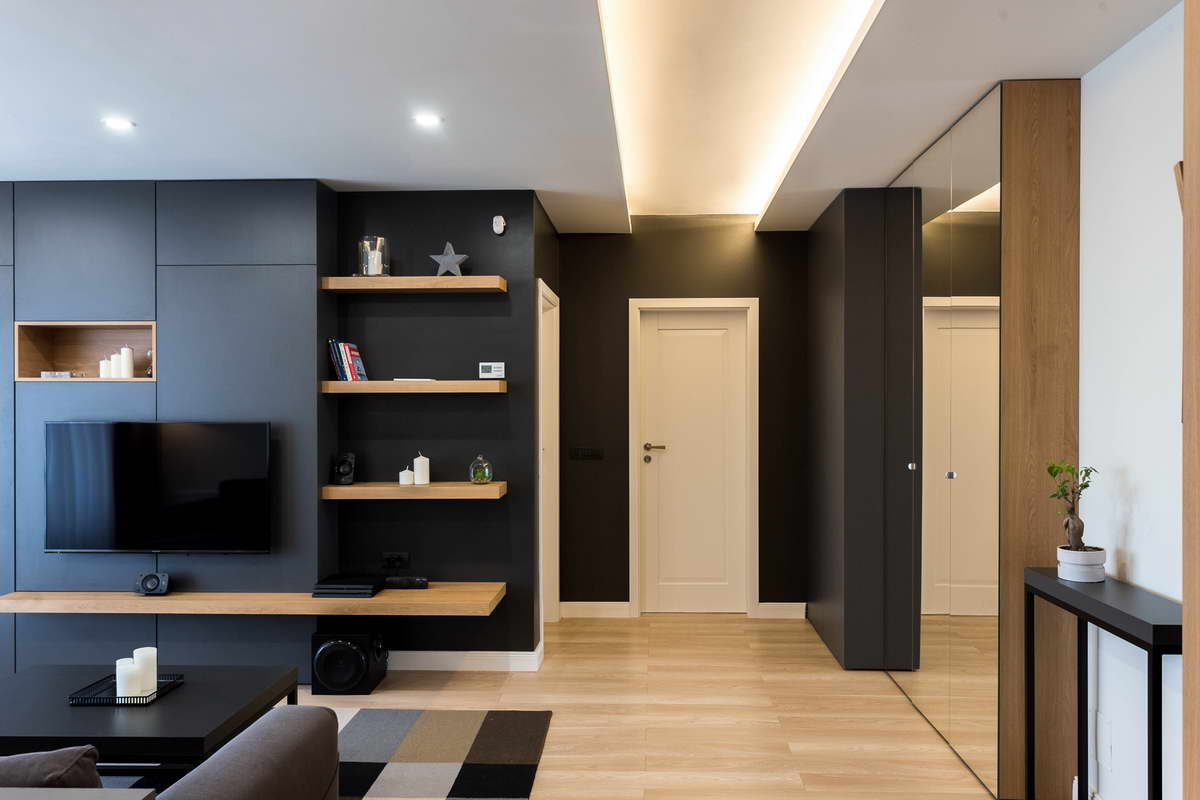 egyszerű színek letisztult design - nappali bejárat