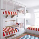 gyerek emeletes ágy - piros fehér