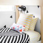 gyerek emeletes ágy - fehér, fekete minta