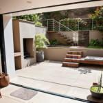 kerti lépcső többszintű terasz és kert - csobogó, ülő medence