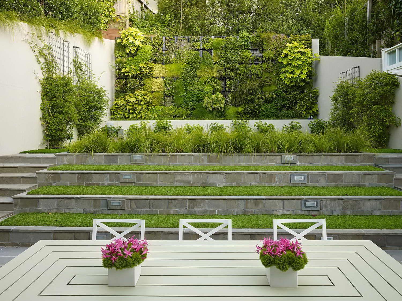 kerti lépcső többszintű terasz és kert - függőleges kert