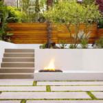 kerti lépcső többszintű terasz és kert - tűzrakó