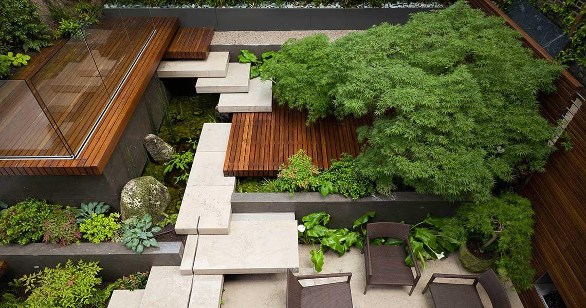 kerti lépcső többszintű terasz és kert - oázis
