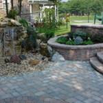 kerti lépcső többszintű terasz és kert - vízesés