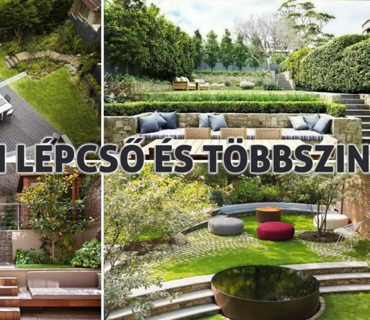 kerti lépcső többszintű terasz és kert