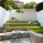 kerti lépcső többszintű terasz és kert - minimál