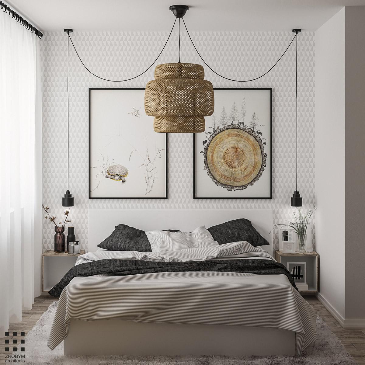 kis hálószoba ötlet - fókuszpont a falon