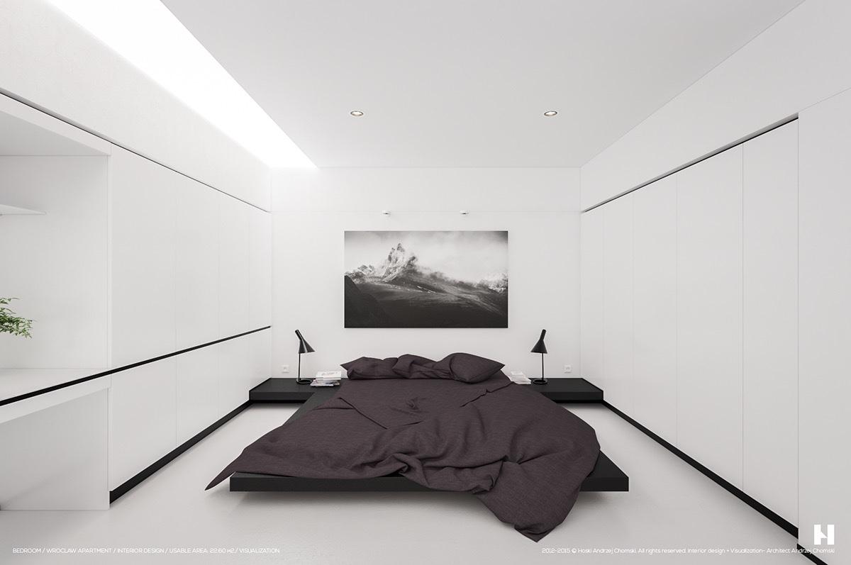 kis hálószoba ötlet - fekete fehér