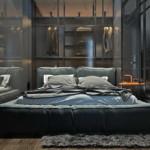 kis loft lakás férfias hálószoba