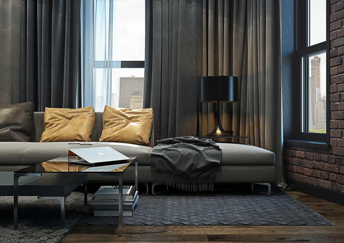 kis loft lakás férfias kanapé design lámpa