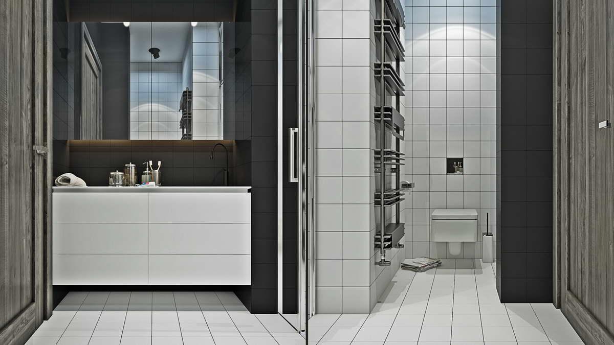 kis loft lakás fehér fürdőszoba