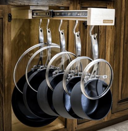 kis konyha tároló ötlet, tipp - edény tároló
