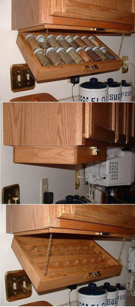 kis konyha tároló ötlet, tipp - zárt tartó