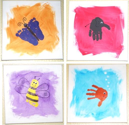 kreatív ötlet gyerekeknek - festett emlékek képek