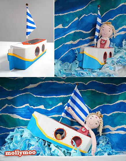 kreatív tejes doboz hajó