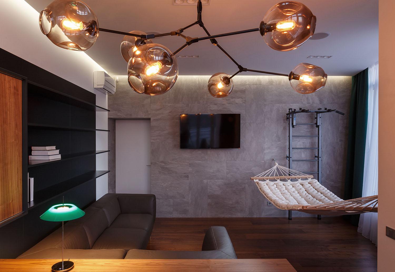 lakás emeletes ház tetején - szoba design lámpa