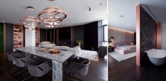 luxus lakás sárga réz