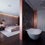 luxus lakás sárga réz - hálószoba fürdőszoba