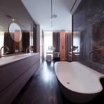 luxus lakás sárga réz - fürdőszoba