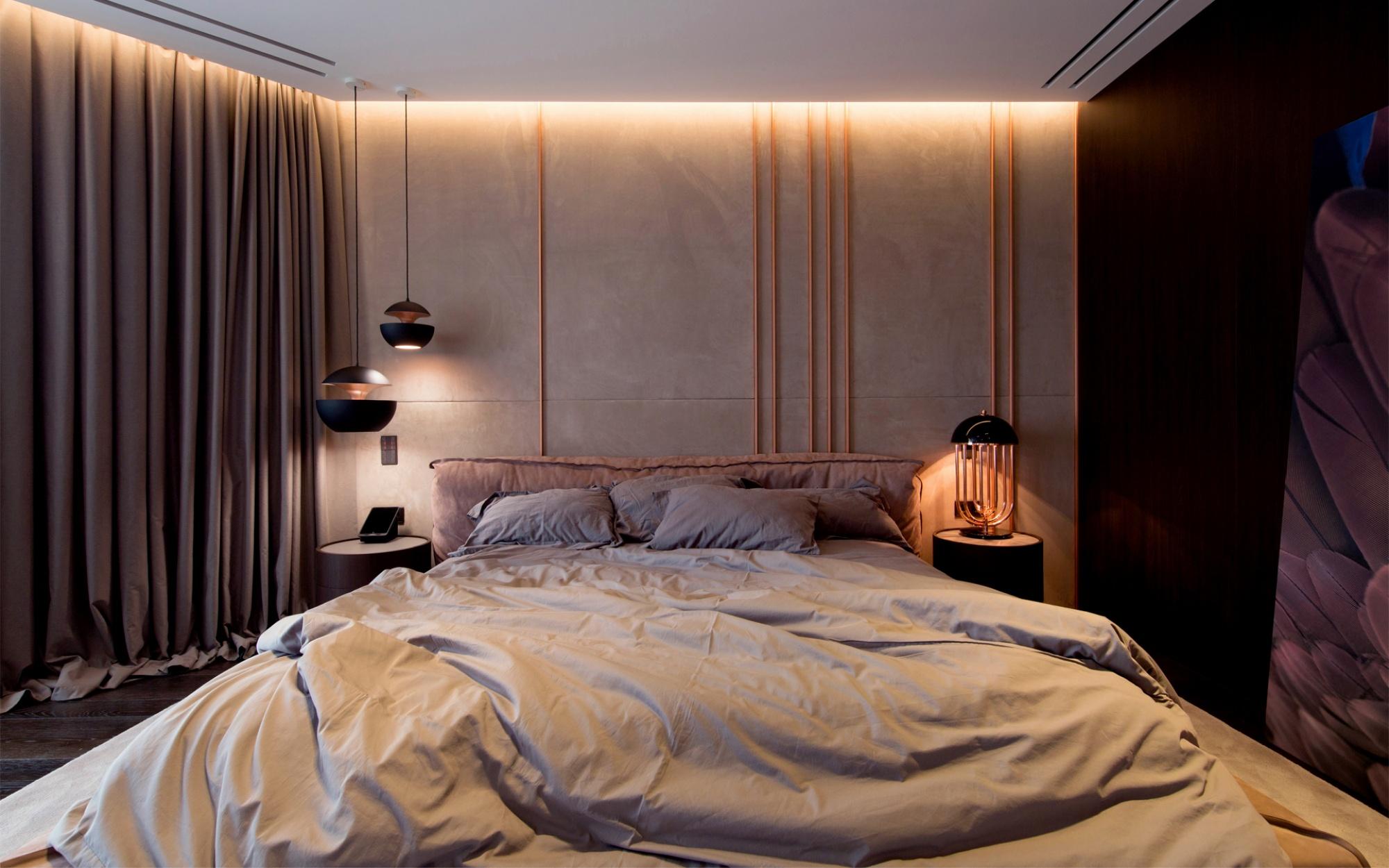 luxus lakás sárga réz - hálószoba