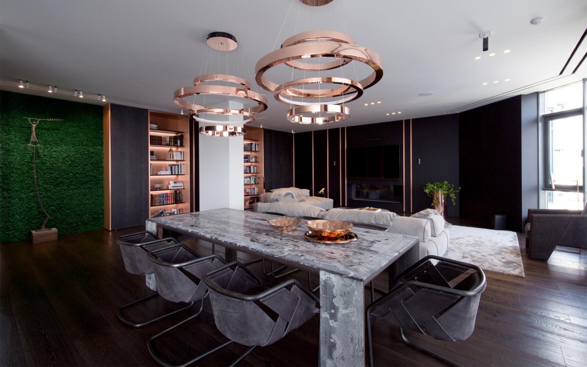 luxus lakás sárga réz - hálószoba étkező