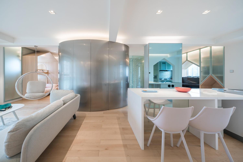 nyugtató színek - lakás konyha étkező