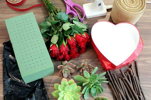 Valentin napi ötlet - szív virág csokor