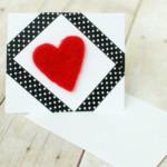 Valentin napi üdvözlő kártya - varrás