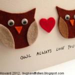 Valentin napi üdvözlő kártya - bagoly