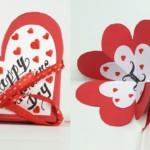 Valentin napi üdvözlő kártya - szétnyitható szív
