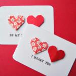Valentin napi üdvözlő kártya - origami szív pár