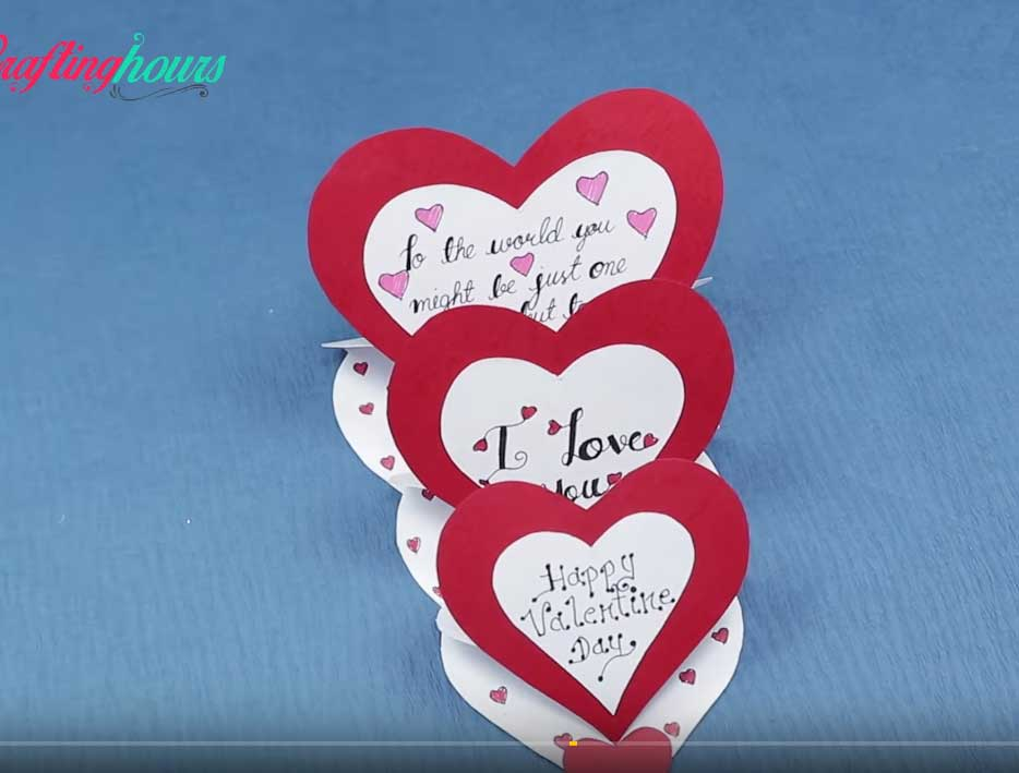 Valentin napi üdvözlő kártya - 3 szív