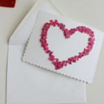 Valentin napi üdvözlő kártya - gyöngy és flitter konfetti