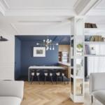 színes luxus lakás fehér nappali kék étkező