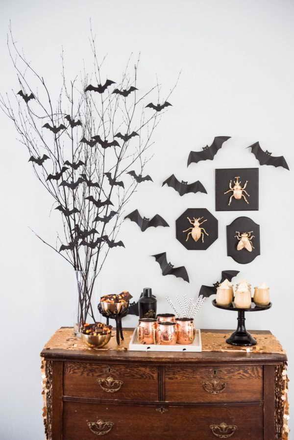 Denevér fa asztalai dísz - Halloween dísz dekoráció