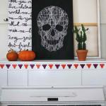 Halálfej kép cérnából - Halloween dísz dekoráció