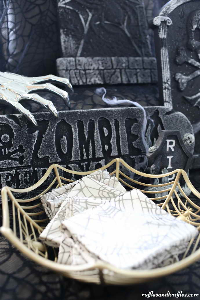 Pókháló kosár kosárka tároló - Halloween dekoráció dísz