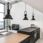 Monokróm Loft lakás fa dekoráció - étkező fém lámpa