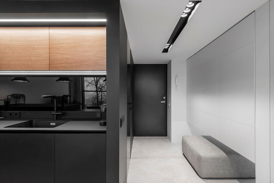 Monokróm Loft lakás fa dekoráció - előszoba