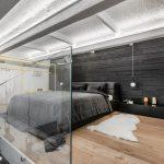 Monokróm Loft lakás fa dekoráció - galéria háló hálószoba