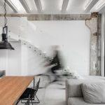 Monokróm Loft lakás fa dekoráció