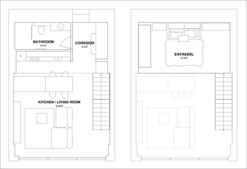 Monokróm Loft lakás fa dekoráció - alaprajz