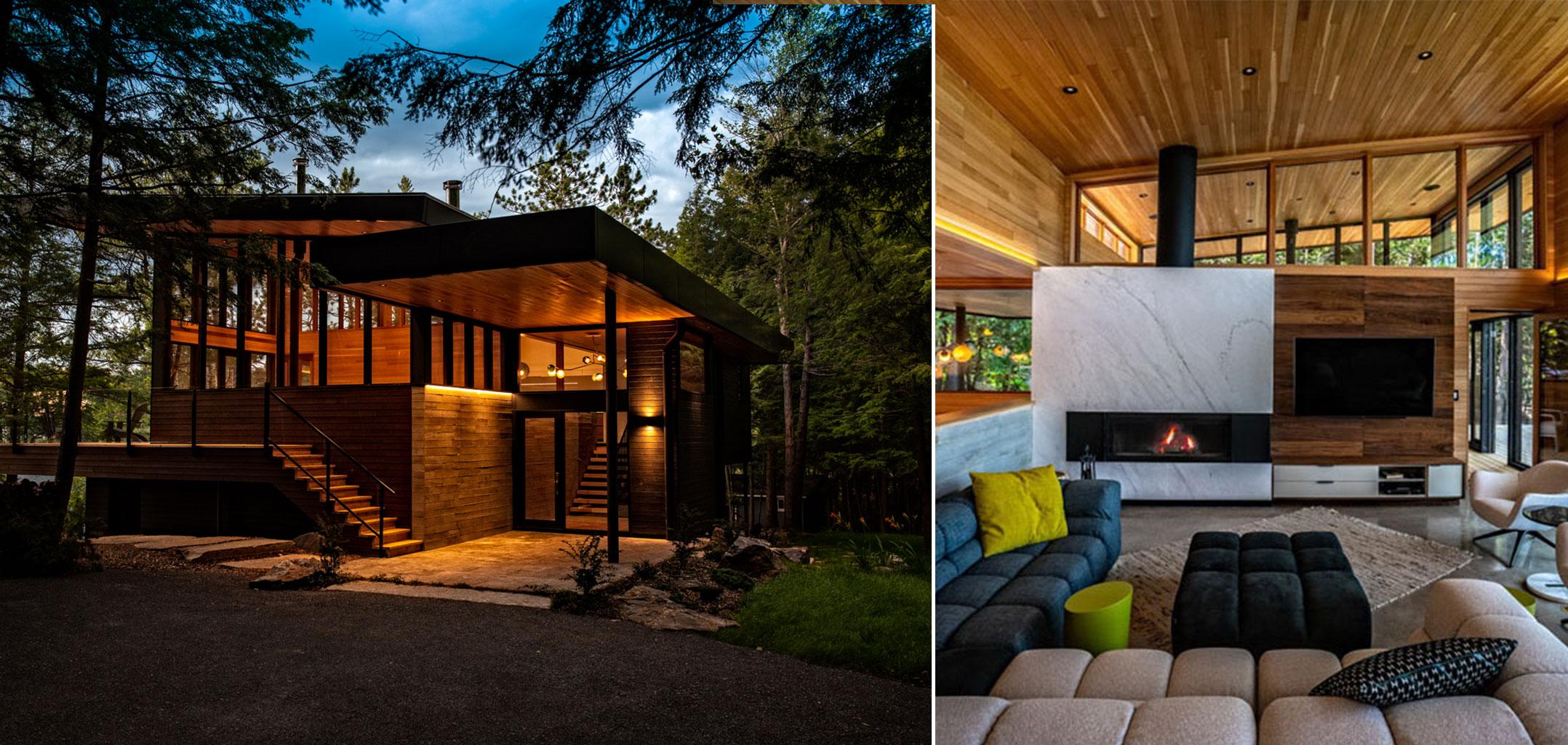 Erdei-ház-fa,-beton-és-üveg