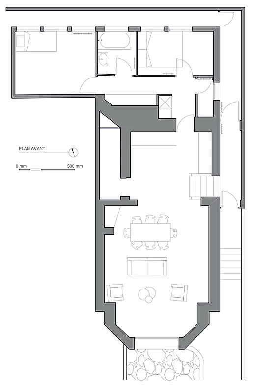 garázsból lakás modern - alaprajz