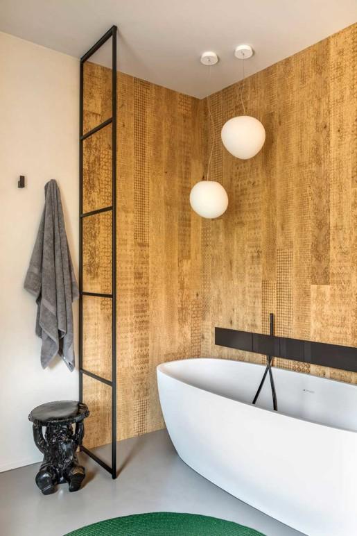 Natrual design lakás fürdőszoba és kád