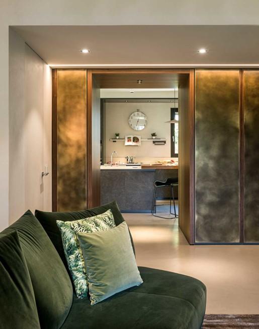 Natrual design lakás nappali és konyha fal