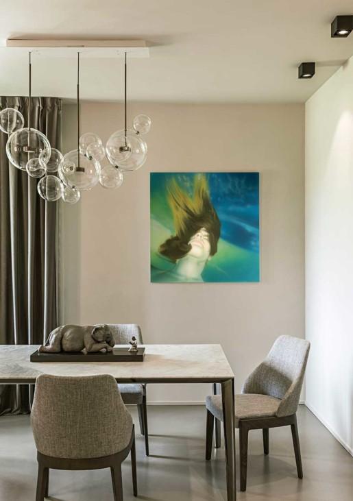 Natrual design lakás nappali márványasztal